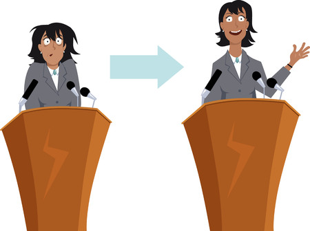 Ilustración de Anxious businesswoman character before and after public speaking training, EPS 8 vector illustration - Imagen libre de derechos