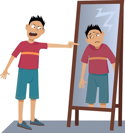 Illustration pour A negative person screaming at his own sad reflection in the mirror, EPS 8 vector illustration, no transparencies - image libre de droit