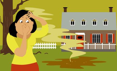 Illustration pour Woman standing in a backyard next to a puddle of sewage - image libre de droit