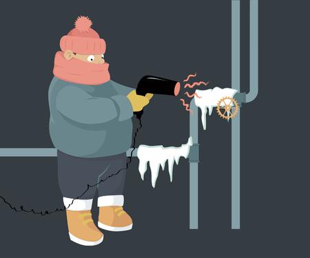 Illustration pour A person attempting to unfreeze frozen water pipes with a hair dryer - image libre de droit