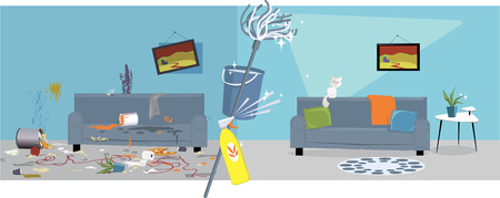 Illustration pour Living room before and after cleaning - image libre de droit