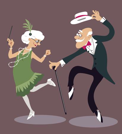 Cartoon elderly couple dancing the Charleston