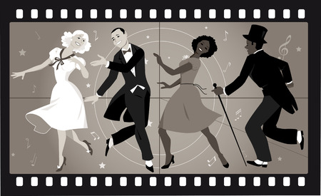 Illustration for People in retro stile costumes dancing in an old movie frame - Royalty Free Image