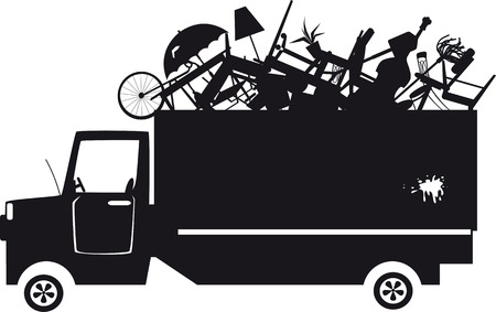 Illustration for Black vector silhouette of a waste collection truck filled with garbage - Royalty Free Image