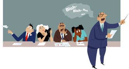 Ilustración de Distracted and bored employees sitting at a business presentation - Imagen libre de derechos
