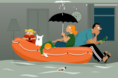 Illustration pour Family sitting in an inflatable boat in a flooded living room of their house, ceiling is leaking, EPS 8 vector illustration - image libre de droit