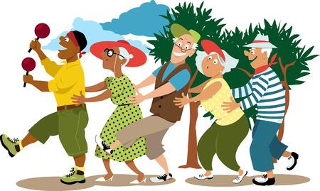 Ilustración de Group of active seniors led by a young volunteer in a conga line dance, EPS 8 vector illustration - Imagen libre de derechos