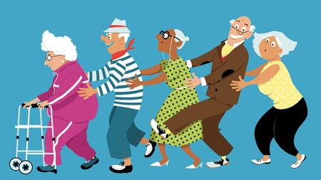 Illustration pour Diverse group of active senior people dancing a conga line, EPS 8 vector illustration, no transparencies - image libre de droit
