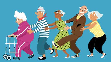 Ilustración de Diverse group of active senior people dancing a conga line, EPS 8 vector illustration, no transparencies - Imagen libre de derechos