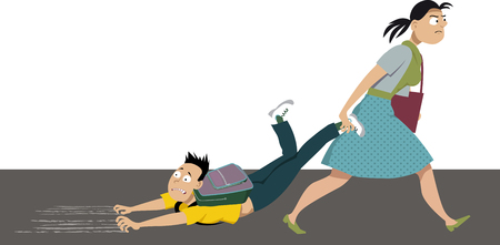 Mother dragging an anxious kid to school, EPS 8 vector illustration