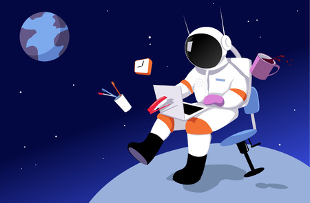 Illustration pour An astronaut working in on a laptop in zero gravity, surrounded by office tool, away from Earth as a metaphor for a remote job - image libre de droit