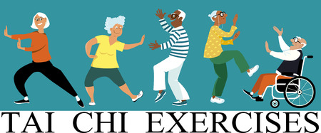 Photo for Diverse group of senior citizens doing tai chi exercise, EPS 8 vector illustration - Royalty Free Image