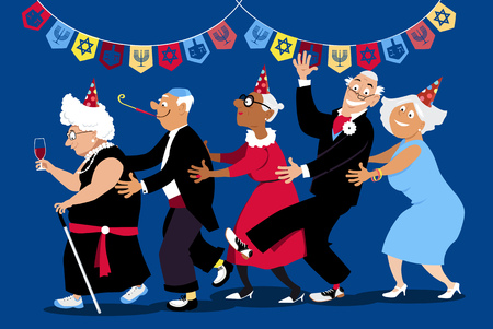 Illustration pour Group of active seniors dancing conga line at Hanukkah party, EPS 8 vector illustration - image libre de droit