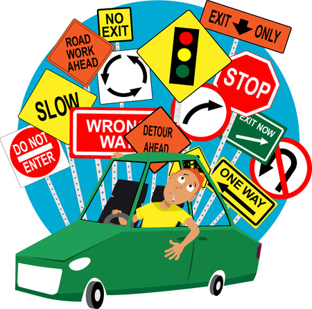 Illustration pour Teenage driving school student sitting in the car, road traffic signs behind him EPS 8 vector illustration - image libre de droit