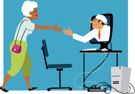 Illustration pour Mature black woman shaking hands with a doctor, coming out of a computer monitor, EPS 8 vector illustration - image libre de droit