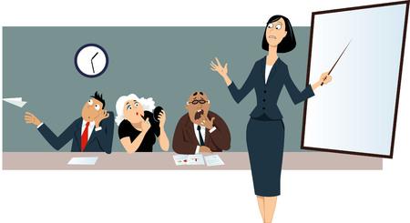 Ilustración de Businesswoman giving a presentation in front of a bored distracted colleagues. - Imagen libre de derechos