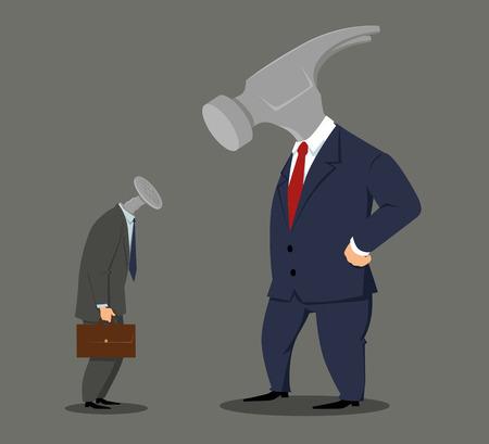 Illustration pour Boss hammer looking at a nail employee, EPS 8 vector illustration - image libre de droit