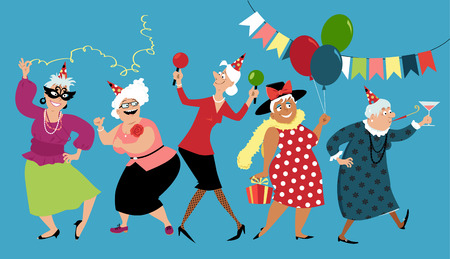 Illustration for Mature ladies celebrate birthday or other holiday together, EPS 8 vector illustration - Royalty Free Image
