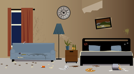 Illustration for Dirty hotel room interior, EPS 8 vector illustration, no transparencies - Royalty Free Image