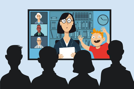 Ilustración de Working mother attending a business video conference from her house, her little son interrupting, EPS 8 vector illustration - Imagen libre de derechos
