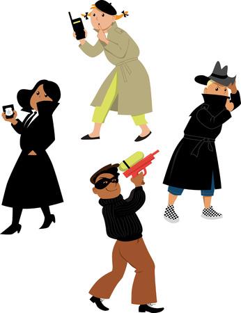 Vektor für Children secret agents cartoon characters isolated on white background - Lizenzfreies Bild