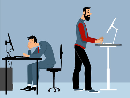 Illustration pour Two man working at the office on the computers, one of them using a standing desk, PS 8 vector illustration - image libre de droit