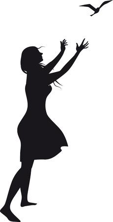 Ilustración de Black vector silhouette of a woman, releasing a bird, drawn from imagination, no model release necessary, EPS 8 vector illustration - Imagen libre de derechos
