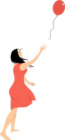 Ilustración de Woman letting go of a balloon as a metaphor for a psychological freedom, EPS 8 vector illustration - Imagen libre de derechos