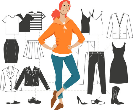 Illustration for Woman standing in front of a scheme of minimalist combination basic pieces of clothing into outfits, EPS 8 vector illustration - Royalty Free Image