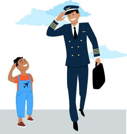 Ilustración de Little boy salutes to a pilot in uniform, EPS 8 vector - Imagen libre de derechos