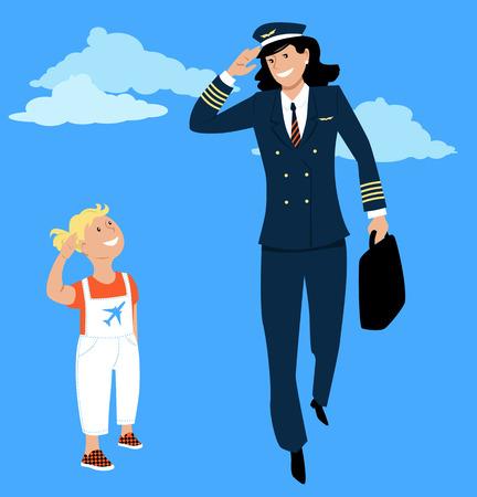 Ilustración de Little girl salutes to a female pilot in uniform, EPS 8 vector - Imagen libre de derechos