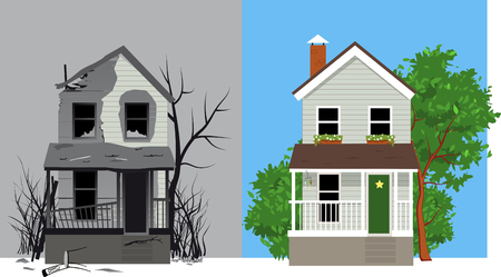 Illustration for Burned house after fire and same house after restoration, EPS 8 vector illustration - Royalty Free Image