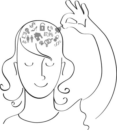 Illustration pour Woman removing symbols of her worries out of her head, vector illustration - image libre de droit