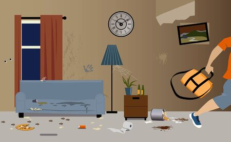 Illustration for Young male tenants moving out of apartment, leaving it dirty and messy, vector illustration - Royalty Free Image
