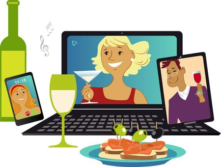 Illustration for Online party with friends communicating via video chat from different gadgets, vector illustration - Royalty Free Image