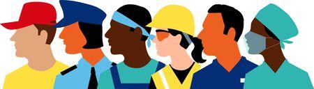 Illustration pour Profile of members of essential workforce - image libre de droit