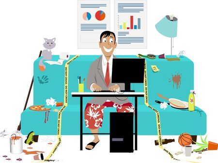 Ilustración de Man attending a work video conference in business jacket and swim shorts, in a messy room on a couch, yellow tape sets work place boundaries,  vector illustration - Imagen libre de derechos