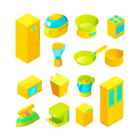 Colorful isometric home appliances for modern interior and game design