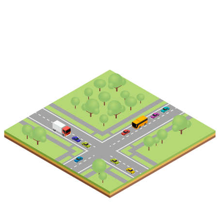 Isometric country crossroads concept. illustration for infographics and web design