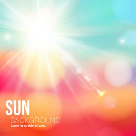 Bright shining sun with lens flare  Soft background