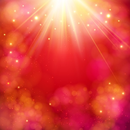 Dynamic red abstract background with a bright star burst or sunburst with rays of light and copyspace, square format vector illustration