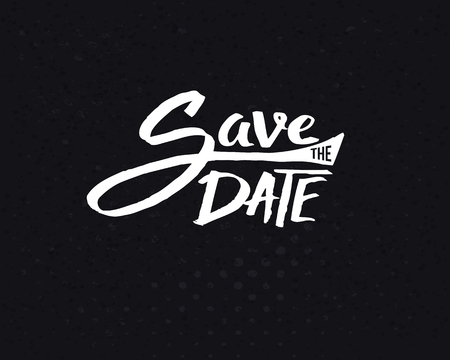 Conceptual White Save the Date Text Design on Abstract Black Background.