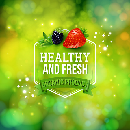Healthy Fresh Organic Product advertising poster with text in a hexagonal frame over a banner on a sparkling green bokeh in green format with fresh berries