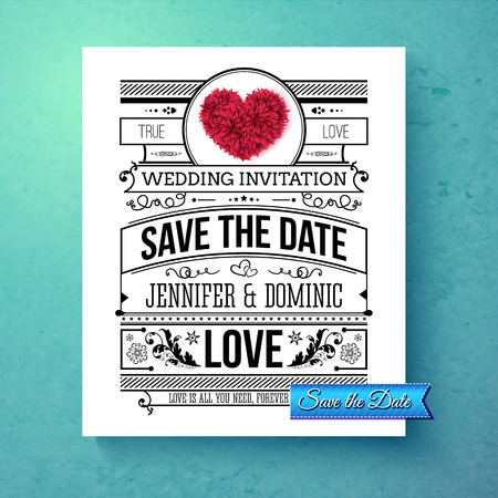 Retro stylish Save The Date wedding template with black and white text with calligraphic ornaments and a red symbolic heart over a graduated blue background, vector illustration