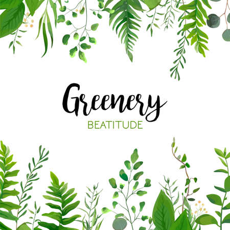 Illustration pour Vector floral greenery card design: Forest fern frond, Eucalyptus branch green leaves foliage herb greenery berry frame border. Wedding invite, poster invitation Watercolor hand drawn art illustration - image libre de droit