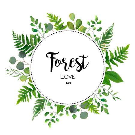 Illustration for Floral vector invite card Design with green Eucalyptus fern leaves elegant greenery berry  forest round circle wreath beautiful cure frame border print. Vector garden illustration, Wedding Invitation - Royalty Free Image