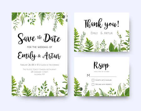 Illustration pour Wedding invite, invitation menu rsvp thank you card vector floral greenery design: Forest fern frond, Eucalyptus branch green leaves foliage, herbs greenery leaf frame border. Watercolor template set  - image libre de droit