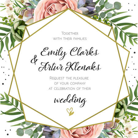 Illustration pour Wedding Invitation, floral invite card Design: Peach lavender pink garden Rose, succulent, wax, eucalyptus, green palm leaves, forest fern greenery geometric golden frame print. Vector cute copy space - image libre de droit