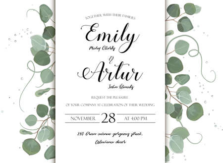 Illustration pour Wedding floral hand drawn invite invitation card design: Eucalyptus silver dollar branch greenery natural leaves watercolor style, rustic, elegant delicate green anniversary copy space beauty template - image libre de droit