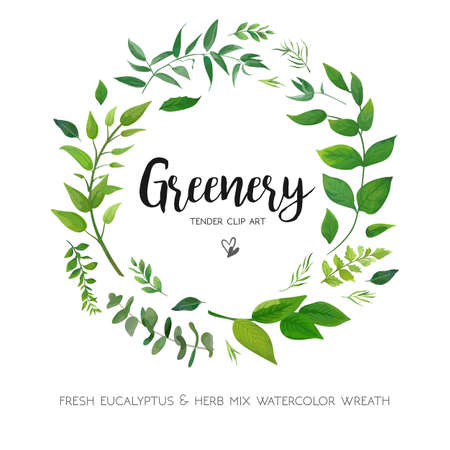 Ilustración de Floral card design with green Eucalyptus fern leaves. Elegant greenery, herbs forest round, circle wreath beautiful cute rustic frame border print. - Imagen libre de derechos